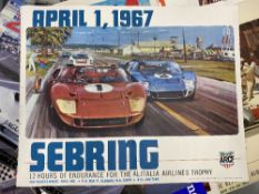 Motorsport: Sebring 1967 colour lithograph by Michael Turner. 24ins. x 19ins.