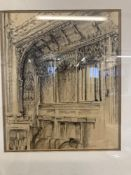 Victor J. Carter: 20th cent. English school conté crayon of Edington Priory with Royal West of