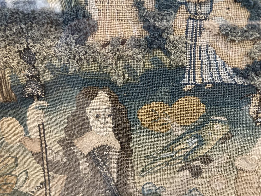 17th cent. Needlework restoration c1660-1680. Rural study with figures, animals and a castle. - Image 3 of 3
