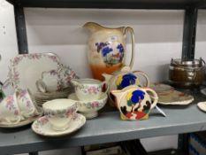 Mid 20th cent. Ceramics: Empire pattern half teasel Holmleigh sandwich set, Clowes water jug, plated