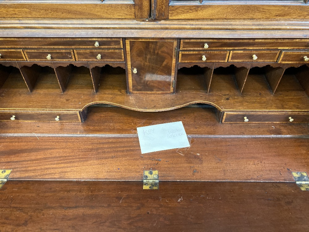 Late 18th/early 19th cent. Mahogany bureau bookcase with well appointed interior. 86½ins. x 40ins. - Image 2 of 2