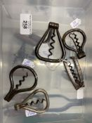 Wine Collectables/Corkscrews: 19th and 20th cent. Bow shaped folding corkscrews, includes two