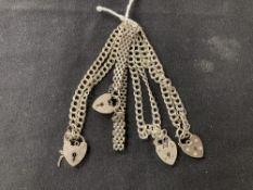 Hallmarked Silver: Four bracelets hallmarked London. Total weight 34·2g.