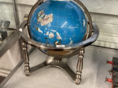 Good quality terrestrial globe inlaid with semi precious stones. Approx. 18ins.