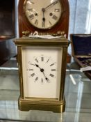 Early 20th cent. carriage clock with brass case, white metal face, Roman numerals, trade mark for