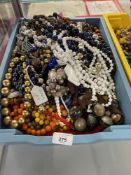 Mid 20th cent. Costume Jewellery: Necklaces, beads, glass, metal and wood, yellow, red, blue