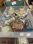 Late 19th early 20th cent. Cloisonné miniature teapots (3), miniature ceramic Cantonese teapots 2 x,