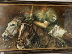 Equine: Late 20th cent. acrylic on board, studio of a polo match. Signed bottom right. 24ins. x