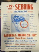 Motorsport: Sebring March 24th 1962 race poster. 17½ins. x 22½ins.
