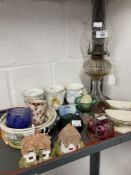 20th cent. Ceramics and glass to include Edwardian boat shaped dish, boxed Copenhagen miniature