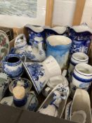 20th cent. Ceramics: Selection of blue and white pottery to include Adams, Woods, Copeland, and