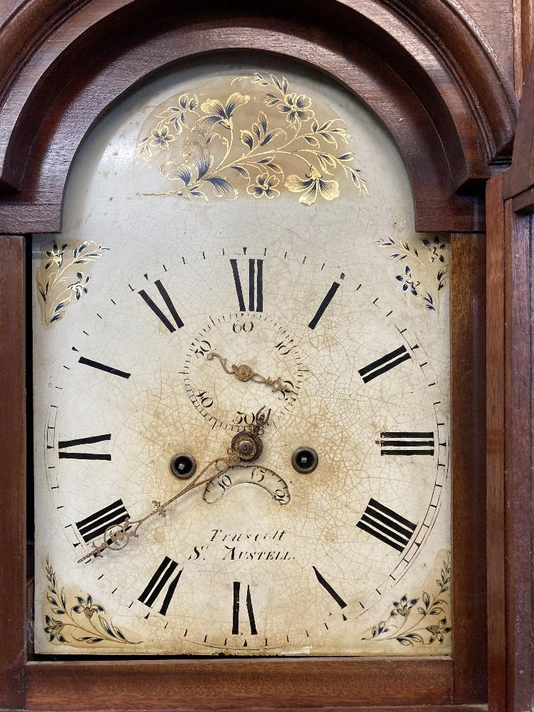 Clocks: Cornish longcase, 19th cent. Joshua Truscott of St. Austell eight day movement, with