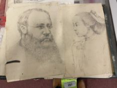 19th cent. Pencil sketches of eminent Victorians and Gladstone, Stafford, Northcole & others,