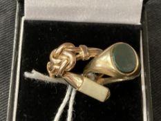 Hallmarked Jewellery: Three signet rings, two hallmarked London, one Birmingham. Total weight 8·5g.