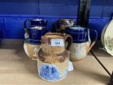Doulton Lambeth: Chinese & Willow ware jugs 6½in. and 5½in. Royal Doulton Harvest/hunting jugs, blue