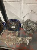 20th cent. Glassware: Pony and cart flower holder, end of day basket, blue carnival glass stemmed