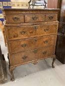 Queen Anne style walnut tallboy, three short above three long on club supports. 42ins.
