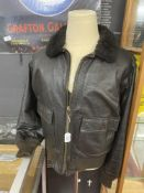 Militaria: Mid 20th cent (1970s) American Navy Pilots issue goatskin leather flying jacket. Label