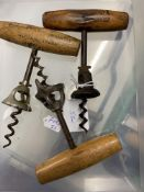 Wine Collectables/Corkscrews: Late 19th/early 20th cent. Three American bell type corkscrews, one