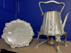 19th cent. E. P. Spirit kettle on stand plus plated salver with gadrooned edge on supports.