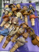 Breweriana: 20th cent. Novelty cork bottle stoppers with mechanical moving bodies including violin