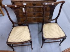 Edwardian mahogany lyre back bedroom chairs. A pair.