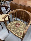 Edwardian inlaid corner salon chairs. (3)
