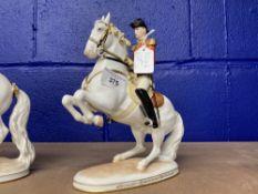 20th cent. Ceramics: Augarten Spanish riding school figurines 'Leuade' rider with rearing horse -