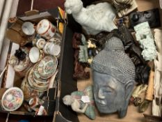 20th cent. Oriental Buddha and other figure, composite plasterstone and ceramic. Plus cups and
