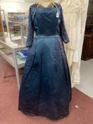 Fashion: Susan Small petrol blue satin evening/dinner dress, square neck, three quarter length