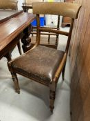 19th cent. Mahogany bar back dining chairs. (6)