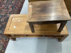20th cent. Chinese hardwood coffee table, 35ins. x 14ins. x 12ins. plus small stool 16ins. x