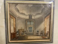 English School: Watercolour, interior of a stately home, unsigned. Framed and glazed. 4½ins. x