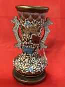 Oriental Ceramics: Early 20th cent. Cloisonné ware, two handled urn with floral decoration with