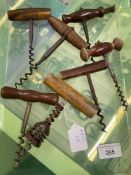 Wine Collectables/Corkscrews: Late 19th and early 20th cent. Straight pull wooden handled