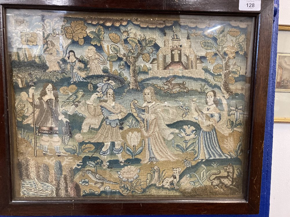 17th cent. Needlework restoration c1660-1680. Rural study with figures, animals and a castle.