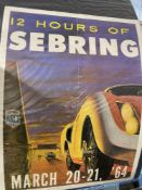 Motorsport: Sebring 1964 colour lithograph mounted on canvas. 18ins. x 23ins.