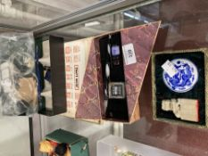 Chinese Art & Calligraphy: Two boxed glass pen sets including ink pots, soapstone seal in the
