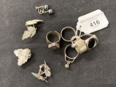 Hallmarked Silver: 20th cent. Designer rings Scottish marks possibly A. Hill & Co, two English mark,
