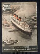 CUNARD: Queen Mary related brochures and printed ephemera to include pre-cut working model book