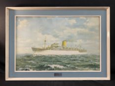 OCEAN LINER: P & O promotional agent's print for SS Iberia in original glazed frame. 29ins. x