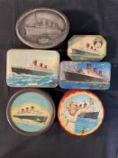 Cunard: Original Queen Mary related memorabilia to include biscuit tins, model, souvenirs coins,