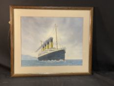 R.M.S. TITANIC: Watercolour 'Titanic at Sea' by John Pembleton, signed and dated bottom right.