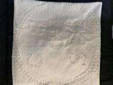 OCEAN LINER: Extremely rare General Screw Steam Shipping Co. candlewick bedspread with embroidered
