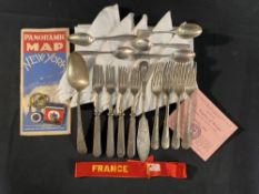 OCEAN LINER: Mixed lot to include Union Castle flatware, France gala night ribbon, Empress of