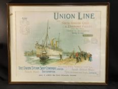 OCEAN LINER: 20th cent. reproduction Union Line agent's poster. Framed and glazed 29ins. x 22ins.