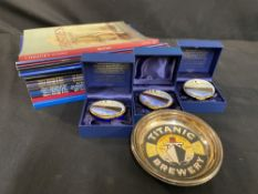 R.M.S. TITANIC: Four ceramic novelty pill boxes (three boxed) plus a collection of auction &