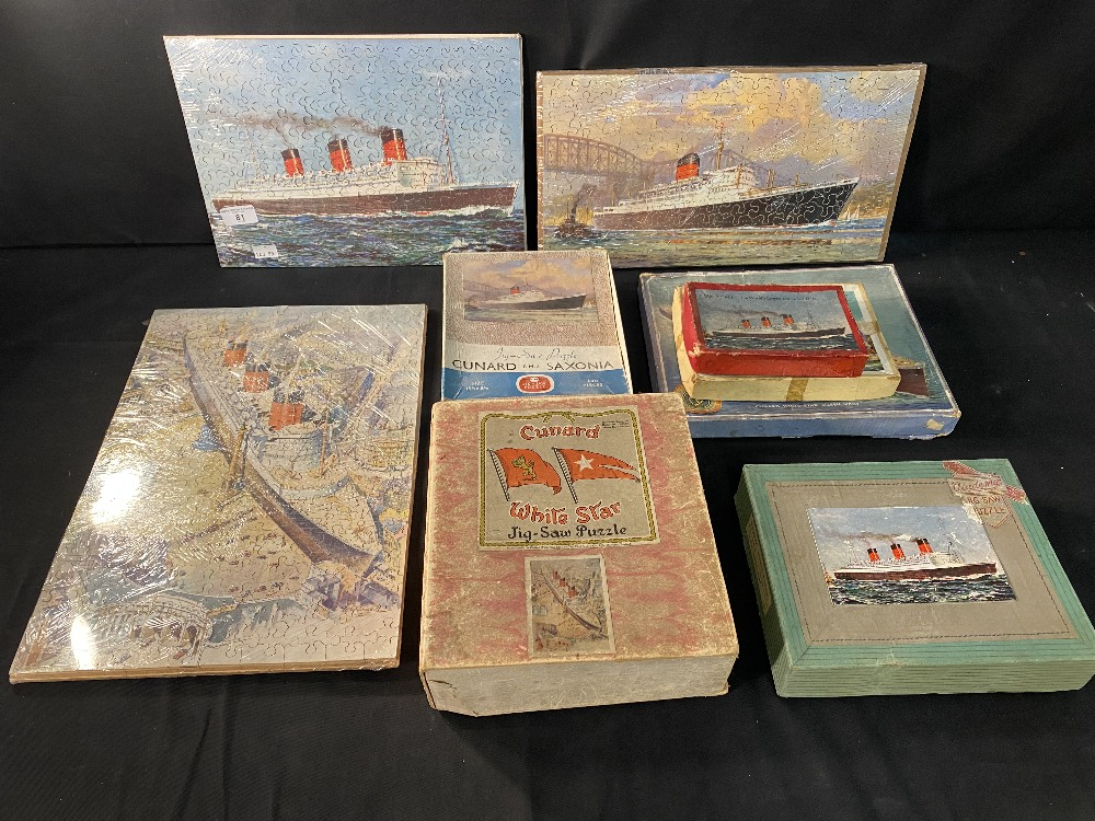 OCEAN LINER: Chad Valley and other jigsaws showing Queen Mary, Saxonia, etc. (6).