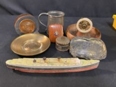 OCEAN LINER: Ship board & other souvenirs relating to liners including Queen Mary & MV Britannic.