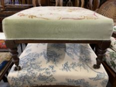 19th cent. Two large mahogany footstools with floral cushioned upholstery.